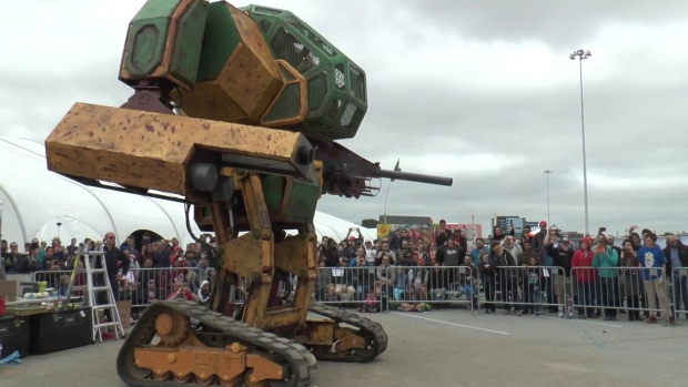 The Mk. II Mech, created by MegaBots Inc., is shown in a YouTube video that challenges Suidobashi Heavy Industry to a robot fight. (YouTube / MegaBots Inc.)