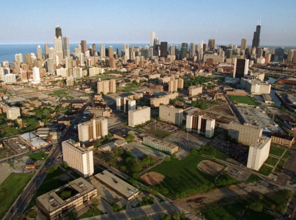 Cabrini-Green public housing project, which has been mostly demolished and redeveloped, is seen against the Chicago Skyline in May 1996. (AP Photo/Beth A. Keiser)