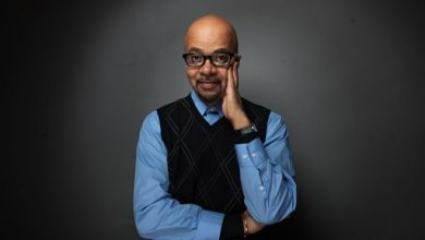 Photo of James McBride Working on Book About James Brown