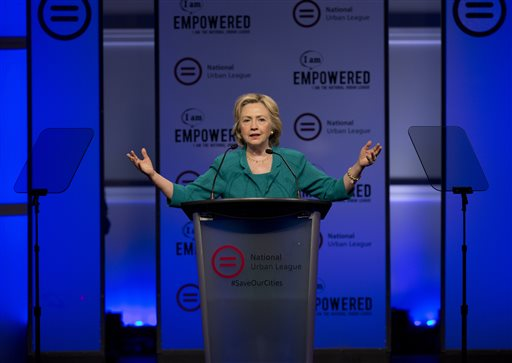 Democratic presidential candidate Hillary Rodham Clinton speaks before the National Urban League, Friday, July 31, 2015, in Fort Lauderdale, Fla. (AP Photo/Wilfredo Lee)