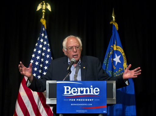 U.S. Sen. Bernie Sanders defines his opinion during a press conference following a speech at the 59th annual Nevada State AFL-CIO Constitutional Convention at the Luxor Hotel & Casino on Tuesday, Aug. 18, 2015, in Las Vegas.  (LE Baskow/Las Vegas Sun via AP) LAS VEGAS REVIEW-JOURNAL OUT; MANDATORY CREDIT