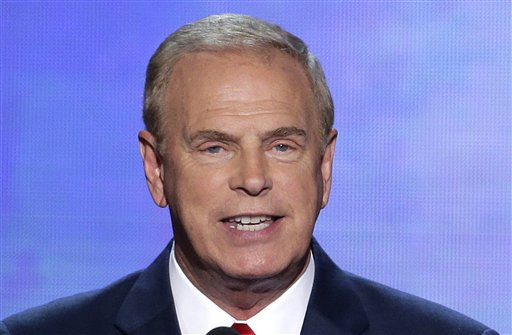 In this Sept. 4, 2012, file photo, former Ohio Gov. Ted Strickland speaks in Charlotte, N.C. One of the biggest outside groups backed by billionaire conservative donors Charles and David Koch is spending $1.4 million to attack a Democratic Ohio Senate candidate Strickland in television advertisements. The ads against Strickland are paid for by Americans for Prosperity, a nonprofit group that doesn't disclose its donors. (AP Photo/J. Scott Applewhite, File)