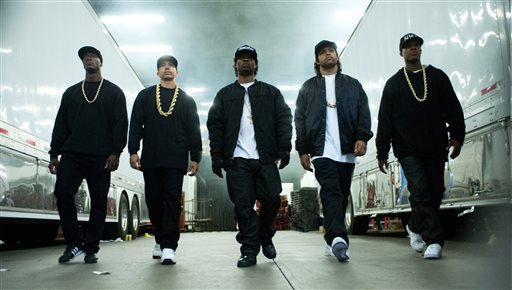 "This photo provided by Universal Pictures shows, Aldis Hodge, from left, as MC Ren, Neil Brown, Jr. as DJ Yella, Jason Mitchell as Eazy-E, O'Shea Jackson, Jr. as Ice Cube and Corey Hawkins as Dr. Dre, in the film, ""Straight Outta Compton."" The movie released in U.S. theaters on Friday, Aug. 14, 2015. (Jaimie Trueblood/Universal Pictures via AP)"