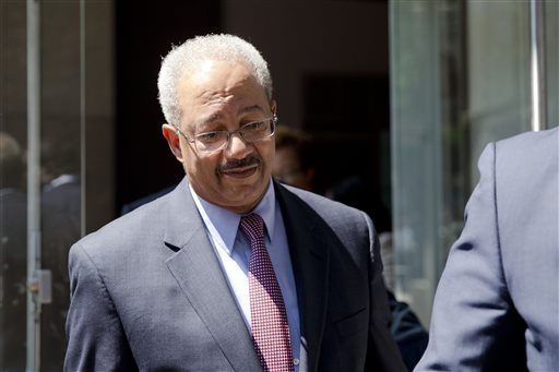 Rep. Chaka Fattah, D-Pa., exits the federal courthouse Tuesday, Aug. 18, 2015, in Philadelphia. Fattah has been indicted on charges he misappropriated hundreds of thousands of dollars of federal, charitable and campaign funds. (AP Photo/Matt Rourke)