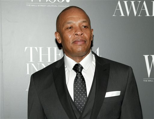In this Nov. 5, 2014 file photo, Dr. Dre attends the WSJ. Magazine 2014 Innovator Awards at MoMA in New York. When the world first heard the names Ice Cube and Dr. Dre, the young musicians were considered outlaws as members of rap group N.W.A. Now they're mainstream entertainment icons, reflecting changes in the two artists and in popular culture.  (Photo by Andy Kropa/Invision/AP, File)
