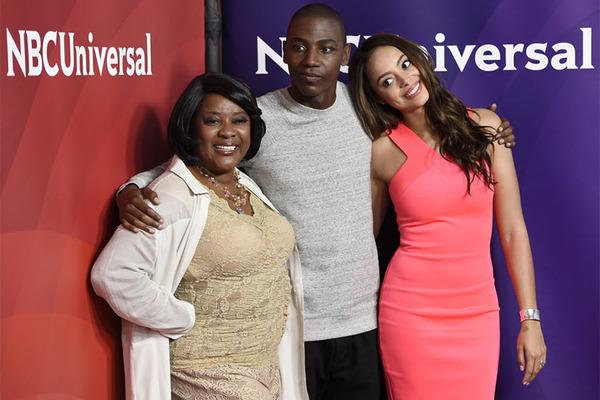 'The Carmichael Show' stars Loretta Devine (l.), Jerrod Carmichael (center), and Amber West (Chris Pizzello/Invision/AP)