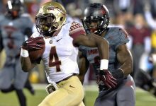 Photo of FSU Running Back Returning to Field After Not Guilty Verdict
