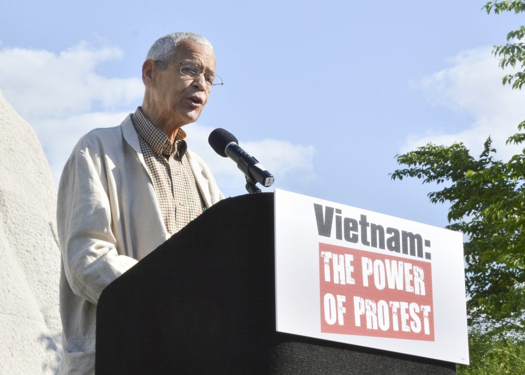 "Julian Bond Speaks to a crowd at the ""Vietnam: The Power of Protest"" rally at the Martin Luther King Memorial on May 2, 2015 in Southwest Washington, D.C. (Roy Lewis/Washington Informer)"