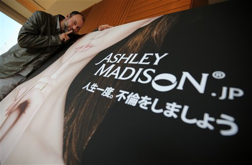 "A Tuesday, April 1, 2014 file photo of Noel Biderman, chief executive of Avid Life Media Inc., which operates AshleyMadison.com., posing during a photo session in Tokyo. Hackers claim to have leaked a massive database of users from Ashley Madison, a matchmaking website for cheating spouses. In a statement released Tuesday, Aug. 18, 2015, a group calling itself Impact Team said the site's owners had not bowed to their demands. ""Now everyone gets to see their data,"" the statement said. (AP Photo/Eugene Hoshiko, File)"