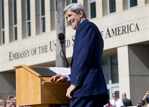 Secretary of State John Kerry smiles while delivering his remarks during the flag raising ceremonies at the newly reopened embassy in Havana, Cuba. Friday, Aug. 14, 2015. Kerry traveled to the Cuban capital to raise the U.S. flag and formally reopen the long-closed U.S. Embassy. Cuba and U.S. officially restored diplomatic relations July 20, as part of efforts to normalize ties between the former Cold War foes. (AP Photo/Pablo Martinez Monsivais, Pool)