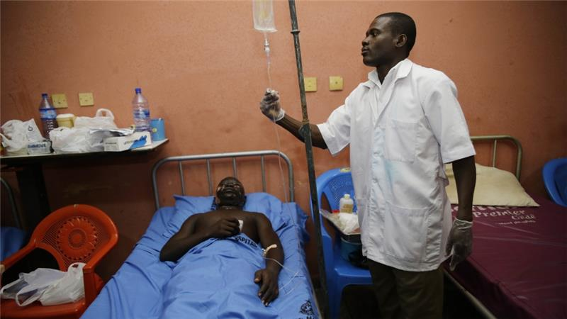 The government says the strike is illegal and that it will only negotiate when the medical staff return to work. (AP Photo)