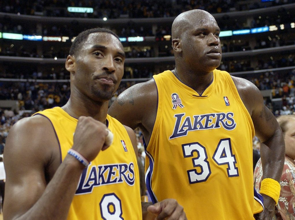 Kobe Bryant, left, and Shaquille O'Neal are shown as Lakers teammates in 2002. (AP Photo/Mark J. Terrill)