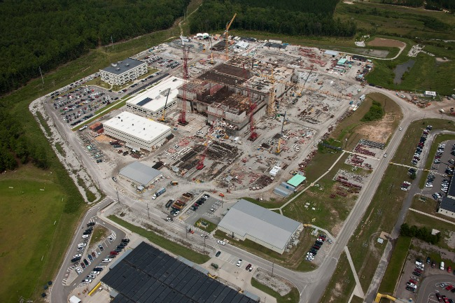 The Mixed Oxide (MOX) construction project at the Savannah River Site in September 2012. The fuel fabrication plant, the heart of the project, is the unfinished concrete structure at the center of the photo. (Savannah River Site/Flickr)
