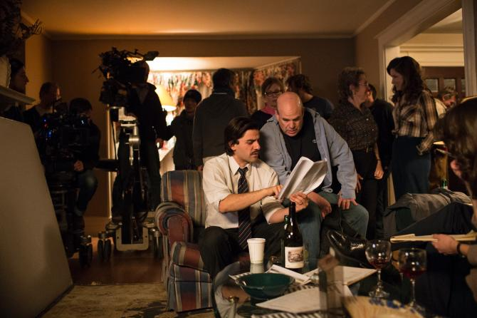 Actor Oscar Isaac and writer David Simon on the set of Show Me a Hero, which premieres Aug. 16 on HBO. (Paul Schiraldi/HBO)