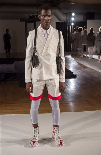 Designer Kerby Jean-Raymond's Pyer Moss collection is modeled during Fashion Week Thursday, Sept. 10, 2015, in New York. (AP Photo/Bryan R. Smith)