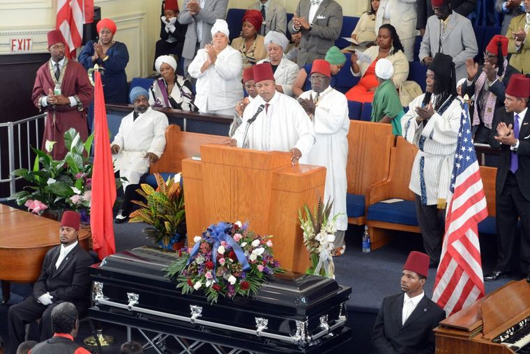 Brother T. Irons-El, from Grand Temple 5 in St. Louis spoke during home going services for Mansur Ball-Bey at Christ Pilgrim Rest M.B. Church Saturday morning. (Wiley Price/St. Louis American)