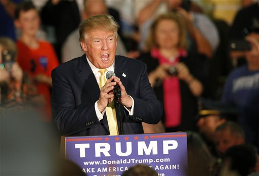 Republican presidential candidate Donald Trump speaks at a town hall event Thursday, Sept. 17, 2015, in Rochester, N.H. (AP Photo/Robert F. Bukaty)