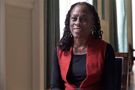 In this March 5, 2014 file photo, New York City first lady Chirlane McCray is interviewed at New York's City Hall. McCray is spearheading New York City's mental campaign, making it her signature issue of 2015. (AP Photo/Richard Drew, File)