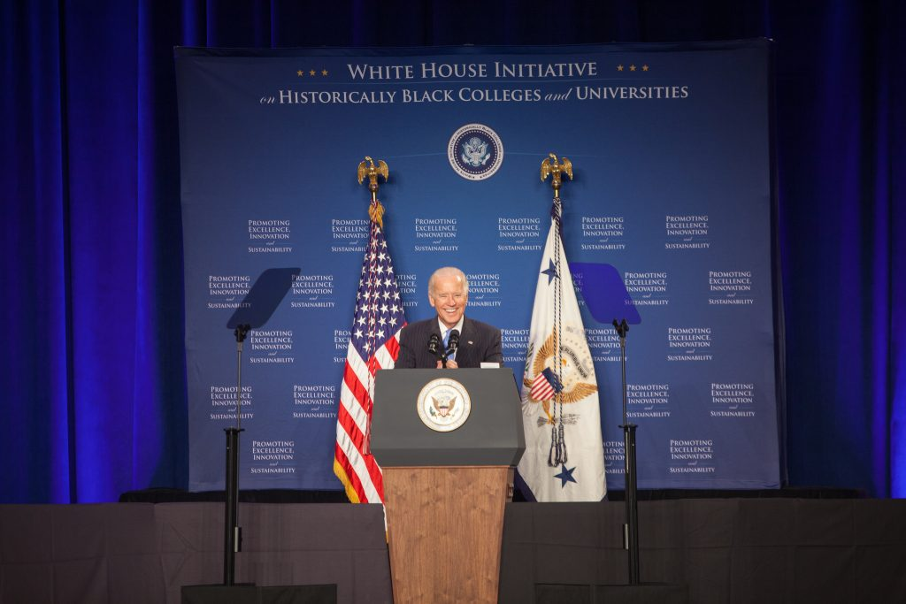 Vice President Joe Biden speaks at the 2015 National HBCU Week Conference, in Washington D.C., September 22, 2015. (Elyse Jones/Department of Education/Flickr CC BY 2.0.)