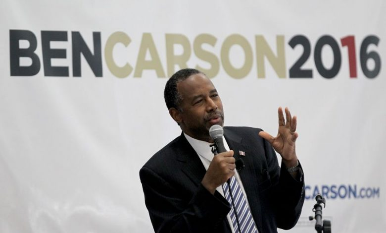 Republican presidential candidate and retired neurosurgeon Ben Carson speaks during an event at Manchester Community College, Sunday, May 10, 2015, in Manchester, N.H. (AP Photo/Mary Schwalm)