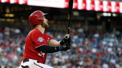 Photo of Bryce Harper's sac fly, 41st HR help Nats beat Marlins 5-2