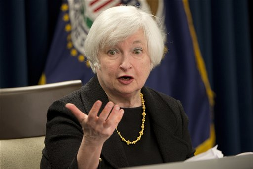 Federal Reserve Chair Janet Yellen answers questions during a news conference in Washington, Thursday, Sept. 17, 2015. The Federal Reserve is keeping U.S. interest rates at record lows in the face of threats from a weak global economy, persistently low inflation, and unstable financial markets. (AP Photo/Jacquelyn Martin)