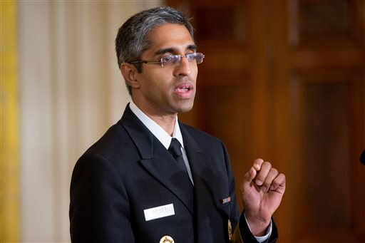 "In this Aug. 3, 2015, file photo, U.S. Surgeon General Vivek Murthy speaks in the East Room at the White House in Washington. Take a walk: That's the U.S. surgeon general's prescription for sedentary Americans _ but communities will have to step up, too, and make neighborhoods easier and safer for foot traffic. Only half of adults and just over a quarter of high school students get the amount of physical activity recommended for good health, Murthy said in a ""call to action"" being issued Sept. 9. (AP Photo/Andrew Harnik, File)"
