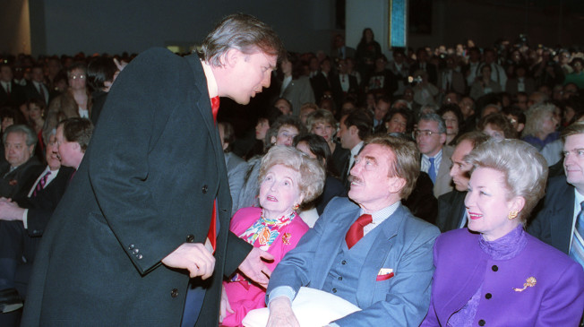 Donald Trump and father Fred Trump (third from the left) (AP Photo)