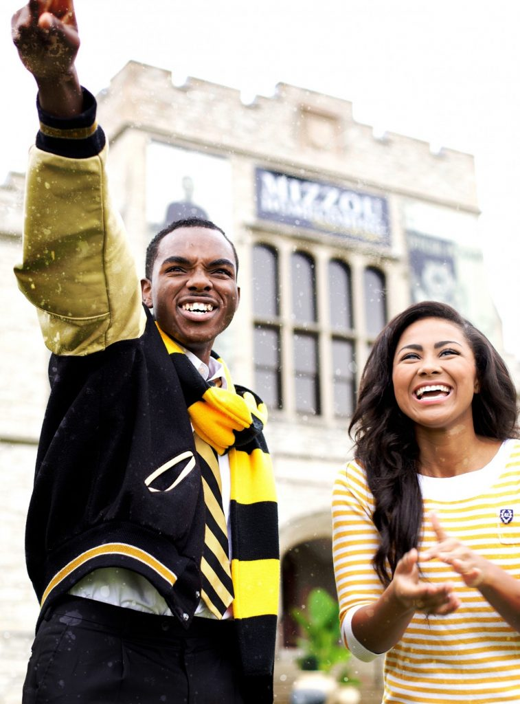 Payton Head (left) and Brenda Smith-Lezama in the campaign shot for the presidency and vice-presidency of the Missouri Students Association. (Photo by Curtis Taylor, Jr.)