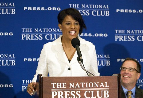 Baltimore Mayor Stephanie Rawlings-Blake speaks at the National Press Club in D.C. on Oct. 7