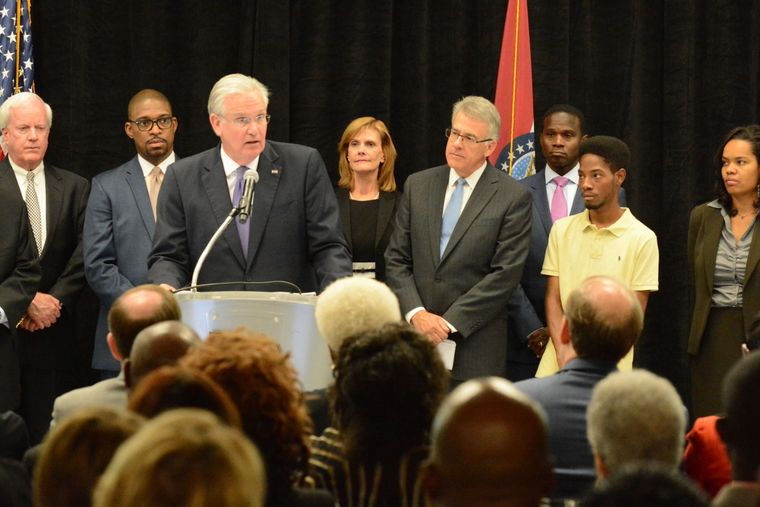 Emerson Executive Vice President Patrick Sly (far left) served on the Ferguson Commission appointed by Gov. Jay Nixon and was present on September 14 when Nixon was presented with the commission's report. Emerson will receive The St. Louis American Foundation's 2015 Corporate Diversity award.(Wiley Price/St. Louis American)