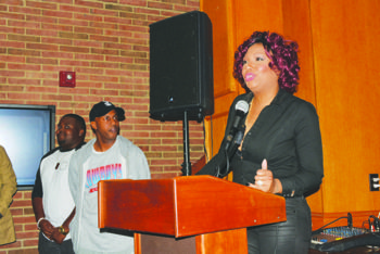 "Traci Braxton, singer and producer, tells students how important the film ""Carter High"" is in terms of its message about the impact of choices at the Howard University Blackburn Center on Nov. 2. Photo by Roy Lewis"
