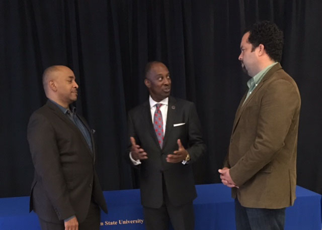 (Left to Right) Rev. Barry K. Hargrove, the pastor of The Prince of Peace Baptist Church, Ron Busby, the president and CEO of U.S. Black Chambers, Inc., and Ben Jealous, the chair of the Southern Engagement Foundation talked about environmental justice and climate change in the Black community during a recent panel discussion at Coppin State University, Baltimore, Md. (U.S. Black Chambers, Inc.)