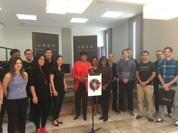 "D.C. Mayor Muriel Bowser speaks at Uber's new East Coast headquarters on Nov. 6 in Northwest during a kickoff event for the city's ""Scissors and Shovels Day."" (Courtesy of the mayor's office via Twitter)"