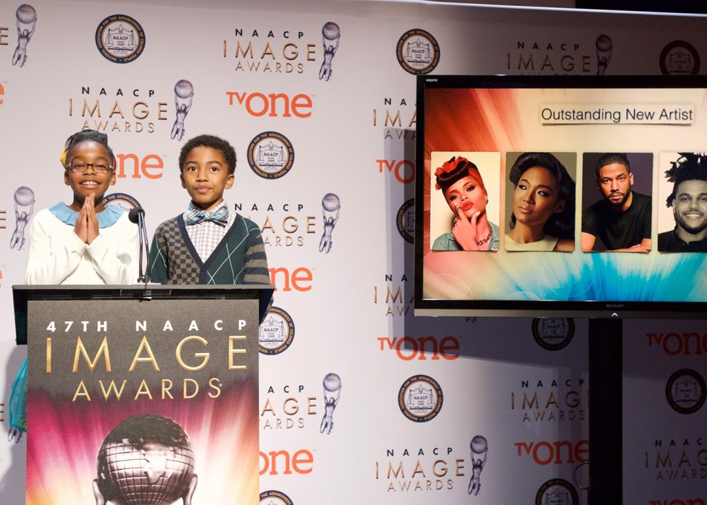 """Marsai Martin (left) and Miles Brown, two of the stars from the ABC sitcom """"black-ish"""" announce nominees for 47th NAACP Image Awards during a recent press conference. (Earl Gibson III/NAACP)"""