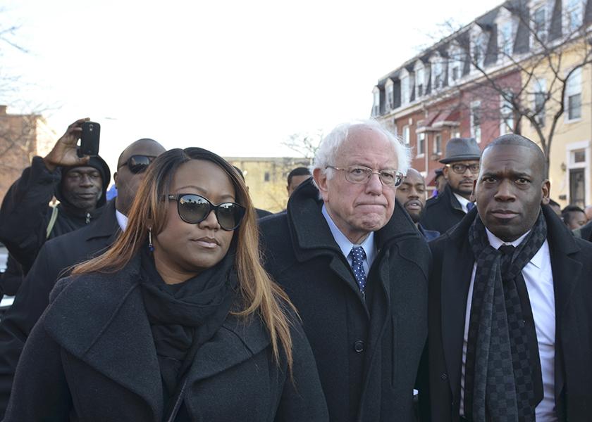 Photo of Presidential Candidate Bernie Sanders Meets with Black Pastors