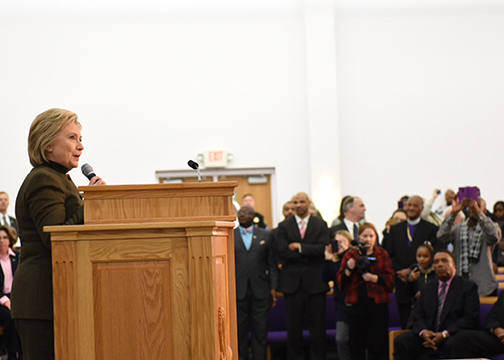 Presidential candidate Hillary Clinton speaks during a visit to the House of Prayer Missionary Baptist Church in Flint Michigan. (Barbara Kinney/Hillary for America)