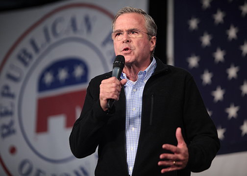 Presidential hopeful Jeb Bush suspended his campaign after a poor showing in the South Carolina primary on Saturday, February 20. This photo was taken during a speech at the 2015 Iowa Growth & Opportunity Party at the Iowa State Fairgrounds in Des Moines, Iowa. (Gage Skidmore/Wikimedia Commons)