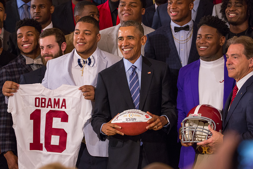 President Barack Obama congratulates members of the 2016 National Champion Alabama Crimson Tide at the White House. Alabama beat the Clemson Tigers 45-40 to win the College Football Playoff championship. (Cheriss May/HUNS)