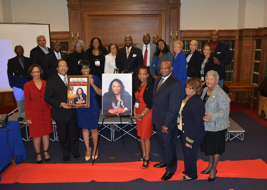Family, friends and more than a dozen NNPA members and staffers joined Chida Warren-Darby, the co-publisher of The San Diego Voice and Viewpoint for the enshrinement ceremony dedicated to her mother and former publisher, the late Gerri Warren at Howard University in Washington, D.C. during the 2016 Black Press Week. (Roy Lewis/NNPA)