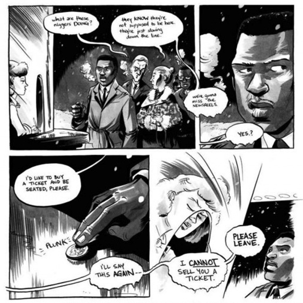 """Panels from """"March: Book One,"""" the graphic novel about Rep. John Lewis' involvement in the Civil Rights Movement. (Top Shelf Comix)"""