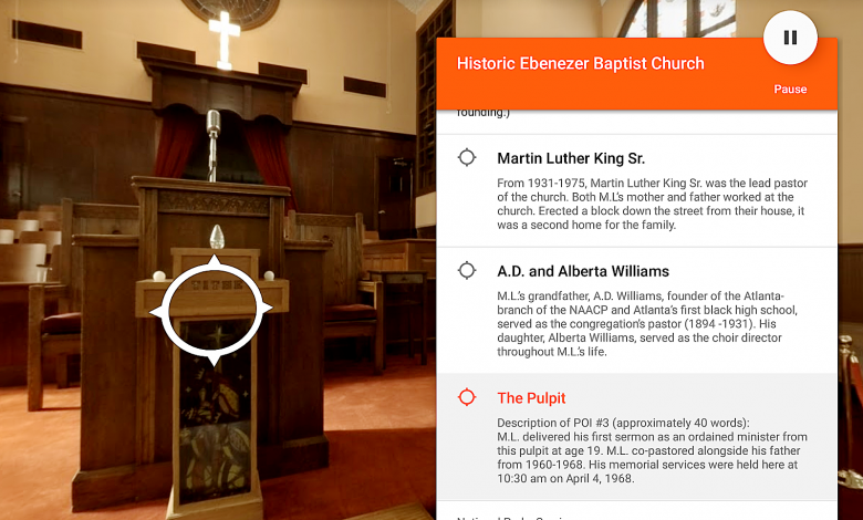 A screenshot from the new Google Expedition highlighting the Ebenezer Baptist Church in Atlanta where Dr. Martin Luther King Jr. preached