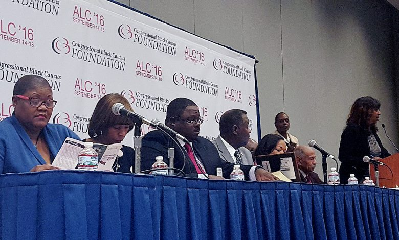 A panel led by Rep. John Conyers (second from right) discusses voting rights at the 46th annual Congressional Black Caucus Foundation conference in D.C. on Sept. 16. PHOTO BY WILLIAM J. FORD