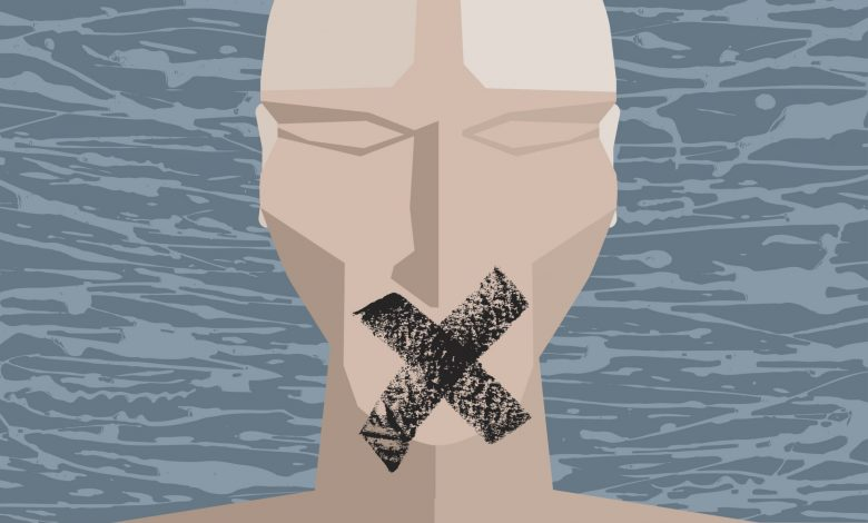 A modern art poster symbolizing people being reduced to silence. Illustration: iStock