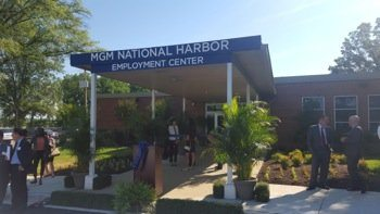 Officials hold a grand-opening celebration for the MGM's National Harbor Employment Center in Oxon Hill, Maryland, on June 20. PHOTO BY WILLIAM J. FORD