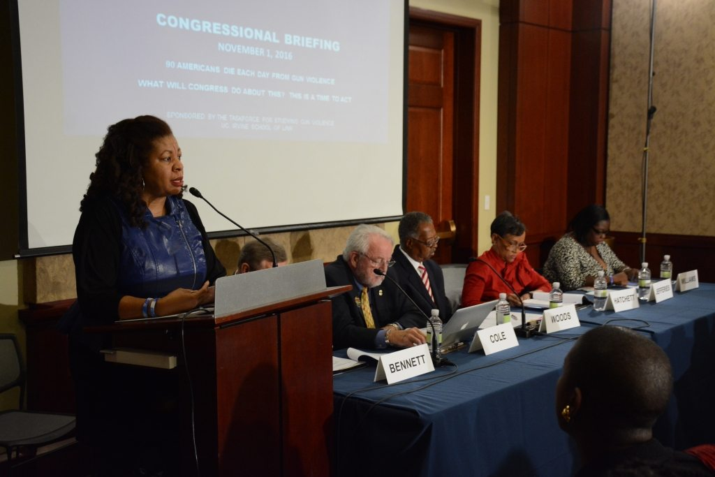 Nardyne Jefferies, founder of Stop Killing Innocent People (S.K.I.P.), speaks at the Congressional Briefing on Gun Violence and Trauma in the U.S. Capitol Visitor Center on Monday, Nov. 1 in Northeast.