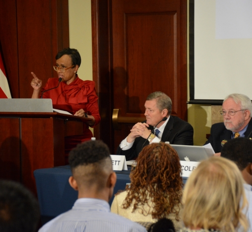 Judge Glenda Hatchet speaks at the Gun Violence and Trauma Congressional Briefing, held Monday, Nov. 1 in Northwest. /Photo by Roy Lewis