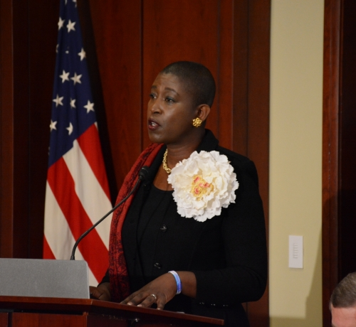 Michele Goodwin, UC Irvine chancellor professor of law, moderates the panel at the Gun Violence and Trauma Congressional Briefing, held Monday, Nov. 1 in Northwest. /Photo by Roy Lewis
