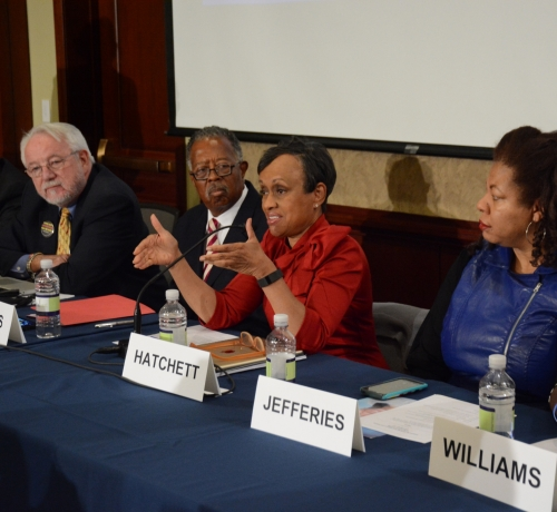 Panelists including Judge Glenda Hatchett at the Gun Violence and Trauma Congressional Briefing held Monday, Nov. 1 in Northwest. /Photo by Roy Lewis