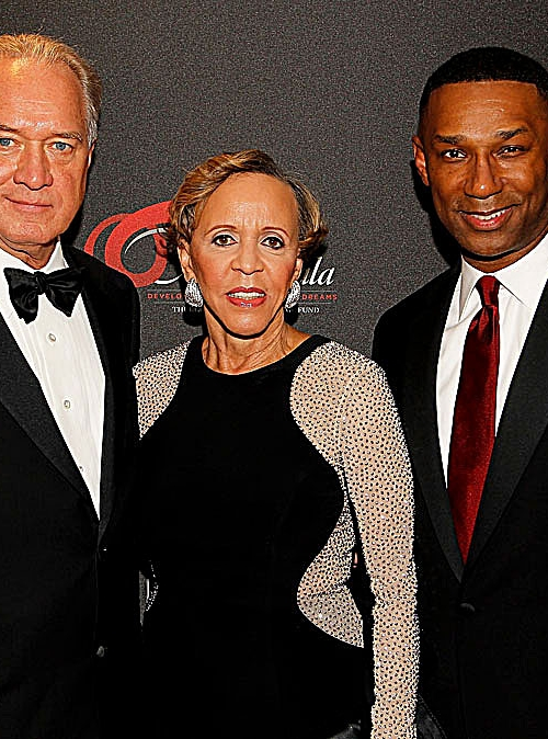 From left: Gallup President Jim Clifton, Thurgood Marshall College Fund founder M. Joyce Payne and Johnny C. Taylor Jr., the fund's president and CEO, attend the organization's 27th annual awards gala at the Washington Hilton in D.C. on Nov. 16, 2015. (Photo by Paul Morigi/Getty Images for Thurgood Marshall College Fund)